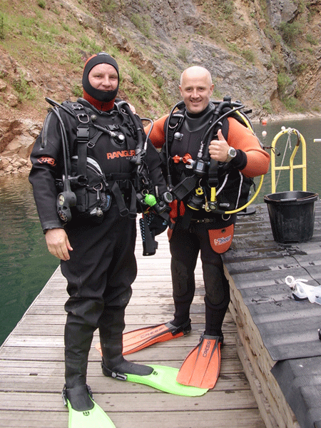 Happy trainee after completing his first dive