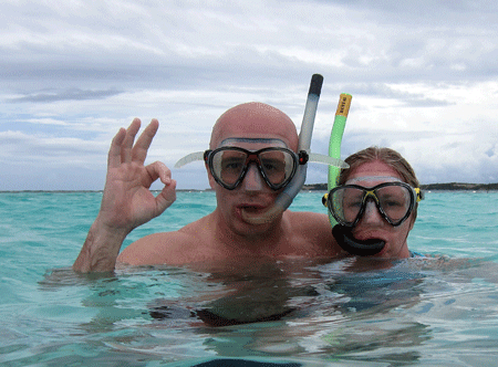 Snorkeling with the stingrays in the western Caribean